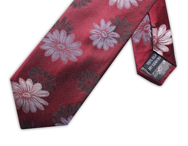 BURGUNDY/GREY FLORAL XL TIE-0