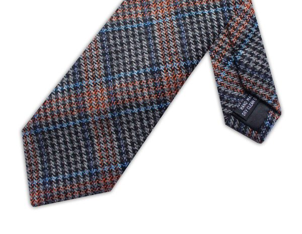 BLUE/ORANGE/GREY PRINCE OF WALES CHECK TIE-0