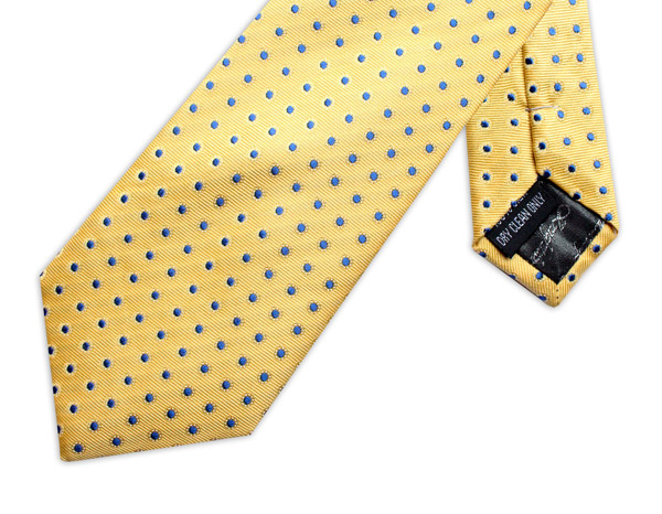 YELLOW/BLUE POLKA DOT TIE