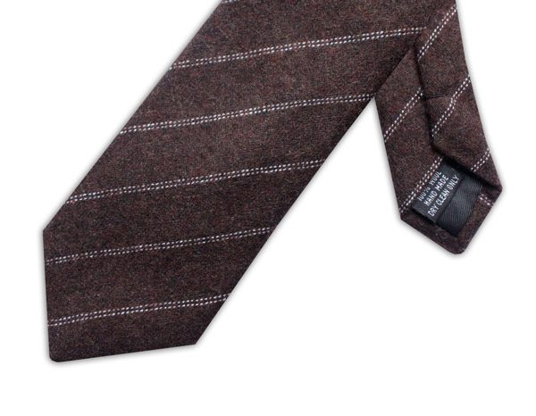 BROWN/WHITE DIAGONAL STRIPE TIE-0