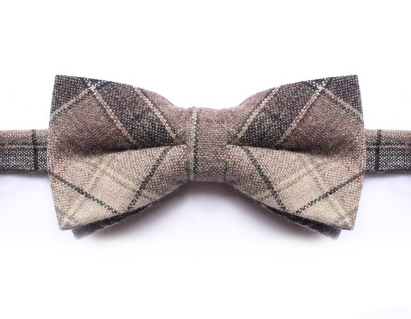 BLACK/BEIGE LARGE CHECK BOW TIE-0