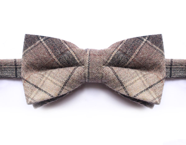 BLACK/BEIGE LARGE CHECK BOW TIE