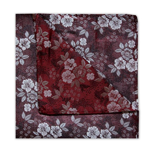 BURGUNDY/WHITE/GREY FLORAL SQUARE-0