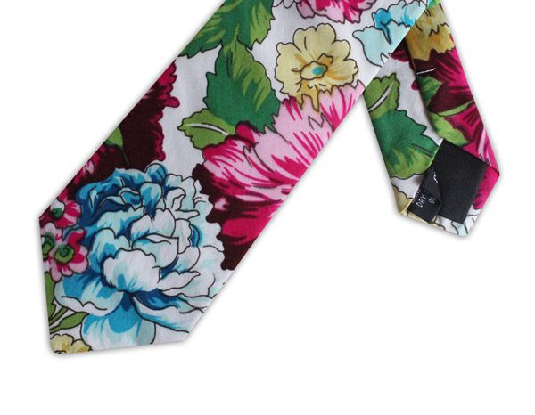 BLUE/PINK/YELLOW FLORAL COTTON TIE-0