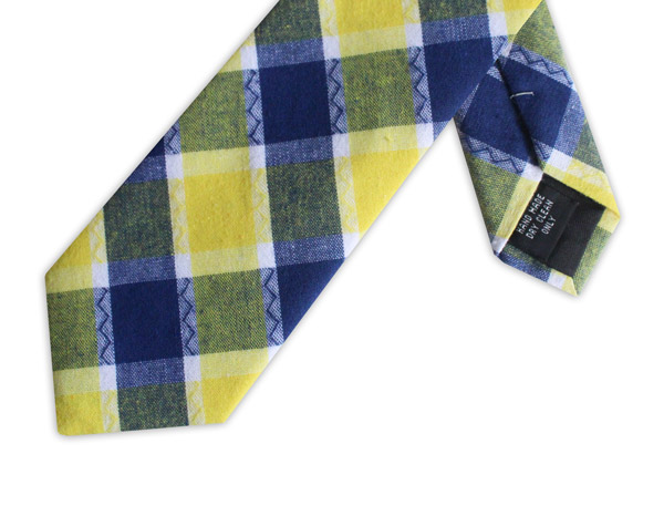 BLUE/YELLOW CHECK COTTON TIE