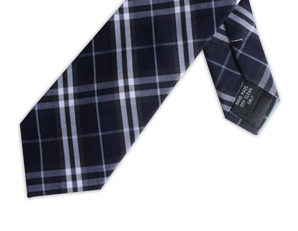 NAVY/WHITE CHECK COTTON TIE