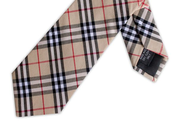 BEIGE/BLACK/RED CHECK COTTON TIE-0
