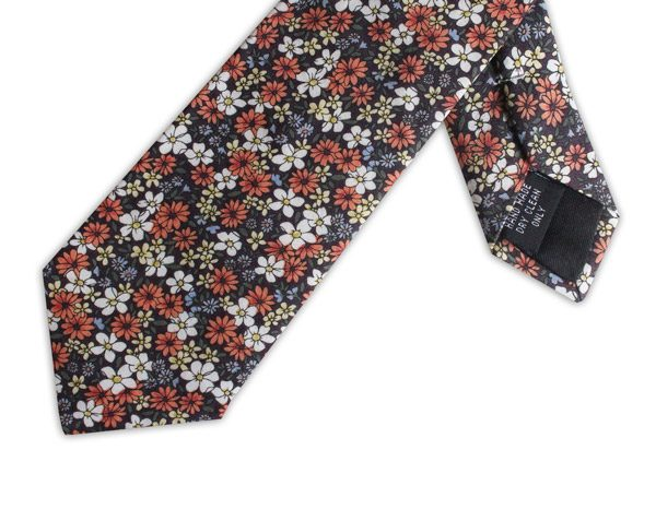 BROWN/YELLOW/ORANGE FLORAL COTTON TIE-0