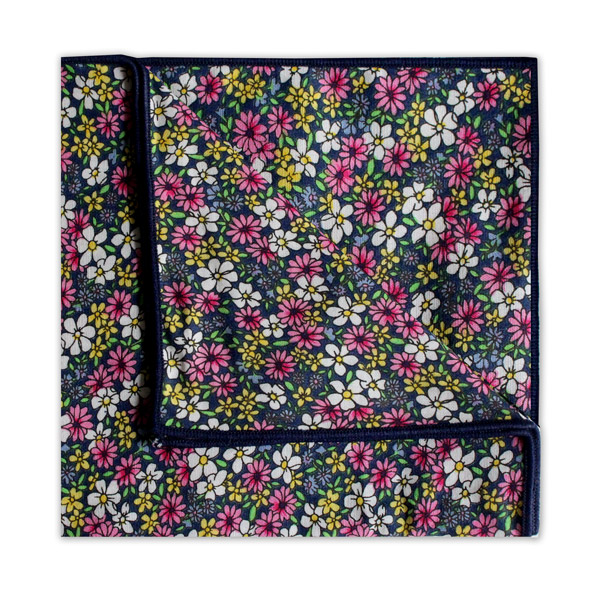PINK/YELLOW/BLACK FLORAL SQUARE