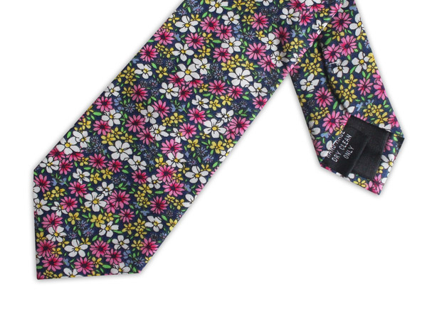 PINK/YELLOW/GREEN FLORAL COTTON TIE