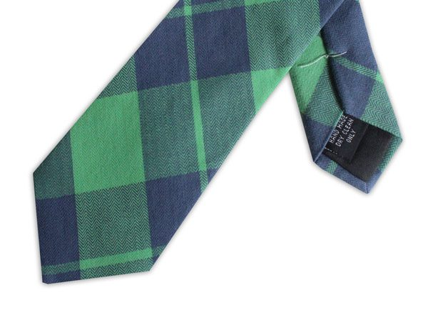 GREEN/NAVY CHECK COTTON TIE-0