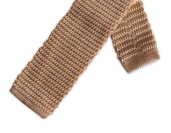 LIGHT GOLD SILK KNITTED TIE-0