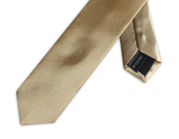 SLIM GOLD POLY SATIN TIE
