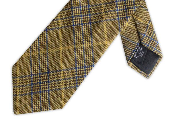 YELLOW PRINCE OF WALES COTTON TIE-0