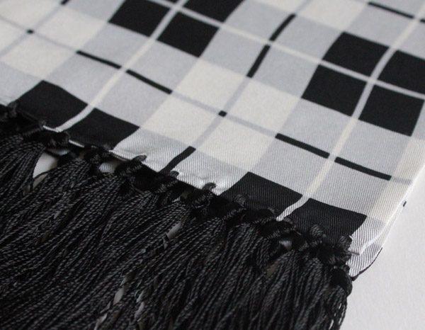 BLACK & WHITE CHECK SILK SCARF-0