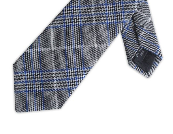 BLUE PRINCE OF WALES COTTON TIE-0