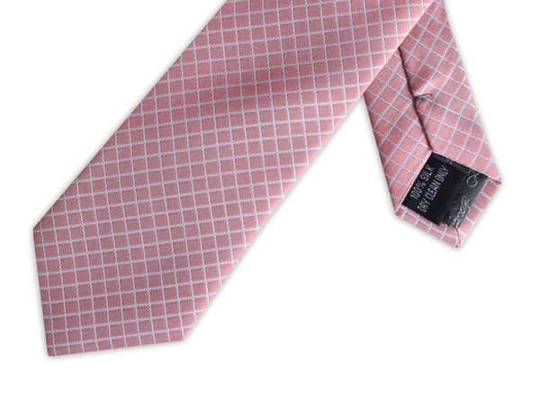 SALMON PINK CHECK TIE-0