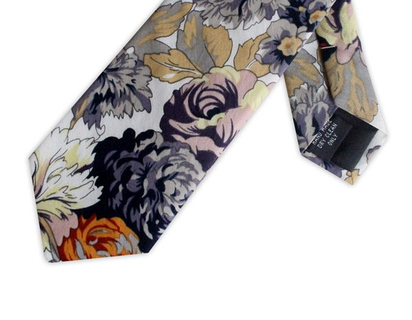 YELLOW/GREY/ORANGE FLORAL COTTON TIE-0