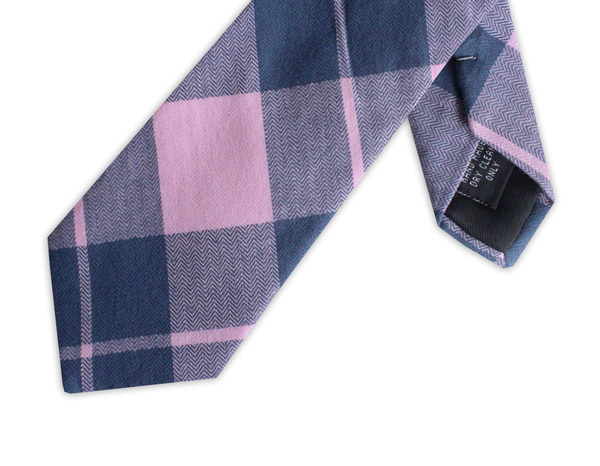 PINK/NAVY LARGE CHECK COTTON TIE