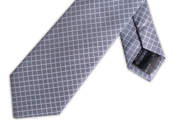 DARK GREY CHECK TIE-0