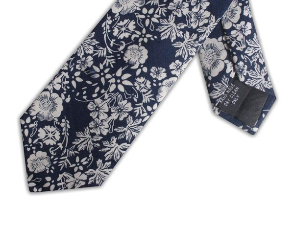 NAVY/WHITE FLORAL COTTON TIE-0
