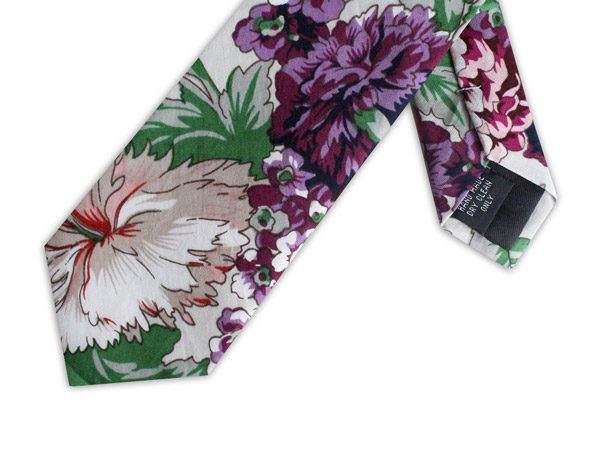 PURPLE/PINK/GREEN FLORAL COTTON TIE-0