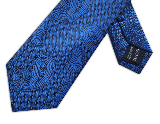 ROYAL BLUE PAISLEY XL WOVEN POLY TIE