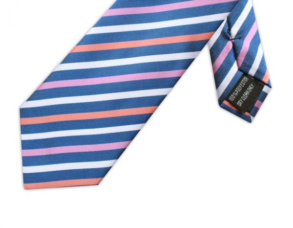 PINK, BLUE, ORANGE & WHITE STRIPE TIE-0