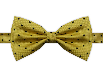 YELLOW & BLACK POLKA DOT BOW TIE
