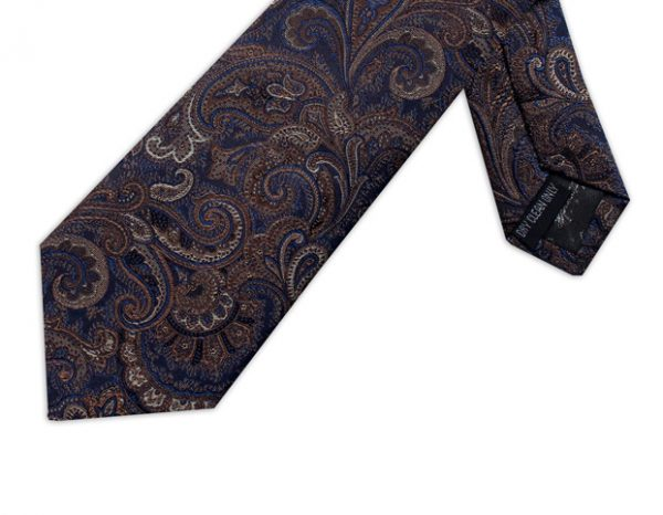 BLUE & BROWN PAISLEY TIE-0