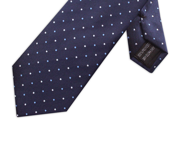 NAVY /  WHITE AND SKY BLUE POLKA DOTS XL TIE