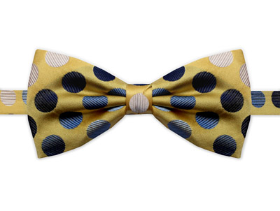 YELLOW, BLUE & WHITE SPOT BOW TIE-0