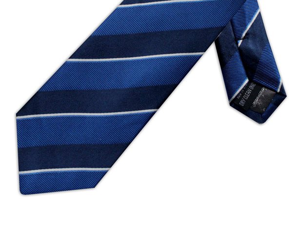 NAVY, BLUE & WHITE DIAGONAL STRIPE TIE