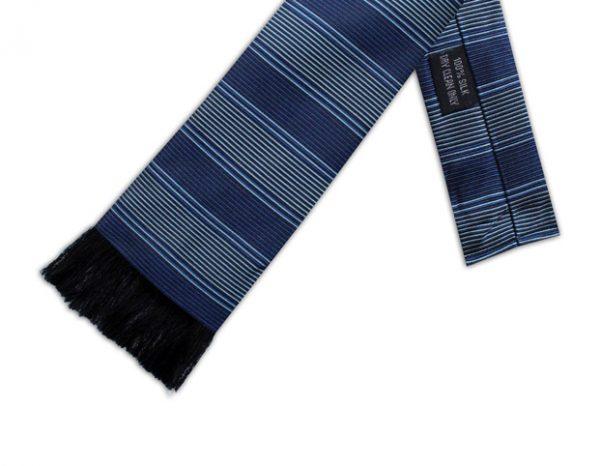 BLUE & GREY STRIPE RETRO TIE-0