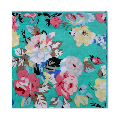 TURQUOISE LARGE FLORAL SQUARE-0