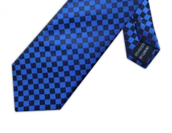 BLUE & BLACK CHECKER BOARD TIE-0