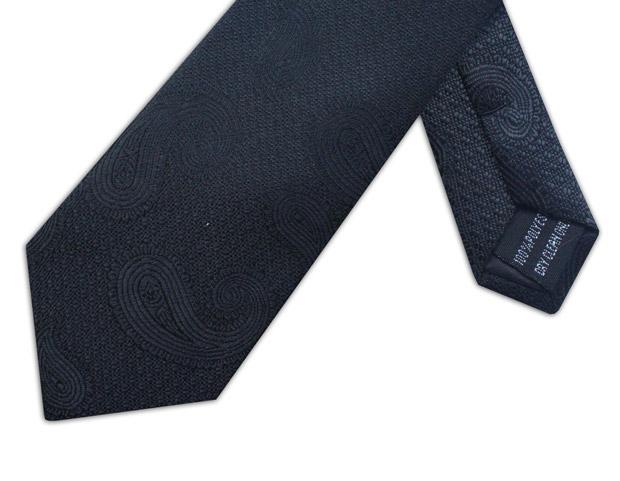 BLACK PAISLEY XL WOVEN POLY TIE