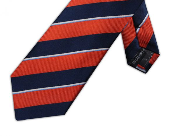 NAVY, BURNT ORANGE & WHITE DIAGONAL STRIPE TIE-0