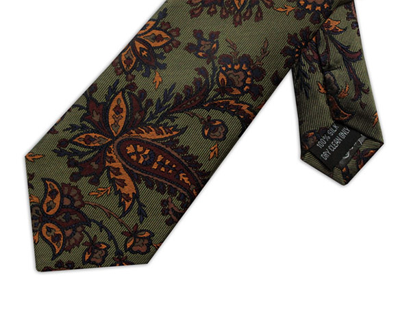GREEN & GOLD FLORAL TIE