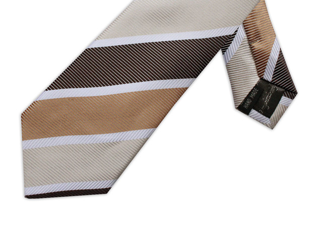 BEIGE, BROWN & WHITE DIAGONAL STRIPE TIE