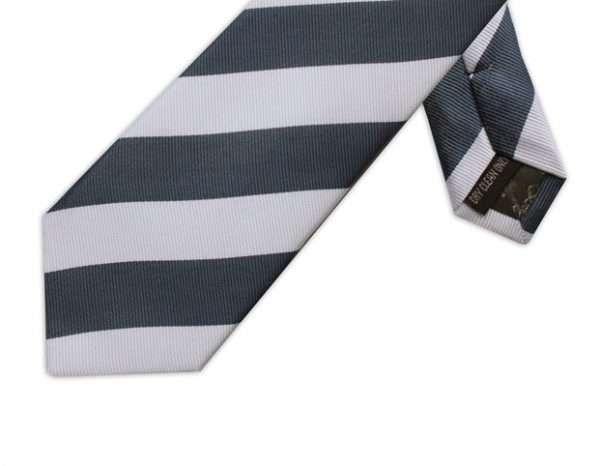 WHITE & NAVY DIAGONAL STRIPE TIE-0
