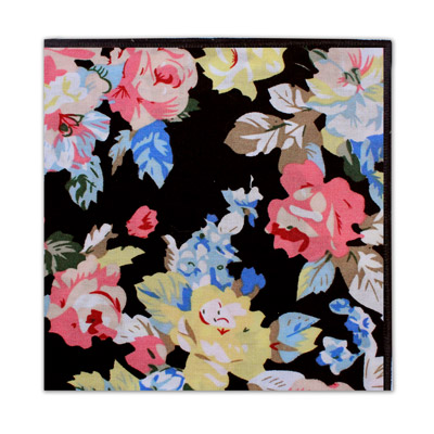 BLACK LARGE FLORAL SQUARE-0