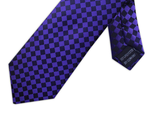 PURPLE & BLACK CHECKER BOARD TIE