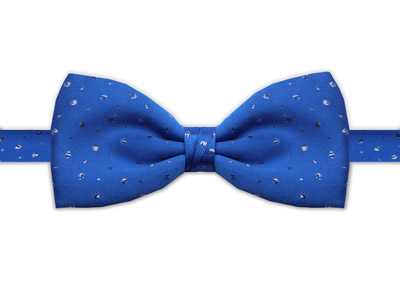 BLUE & SILVER BOW TIE-0