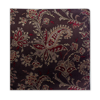 BURGUNDY & BROWN FLORAL SQUARE-0