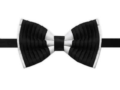 WHITE & BLACK RIBBED BOW TIE