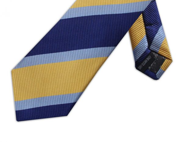 BLUE, NAVY & YELLOW DIAGONAL STRIPE TIE-0