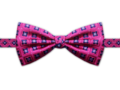 PINK & BLUE SQUARE DETAIL BOW TIE-0