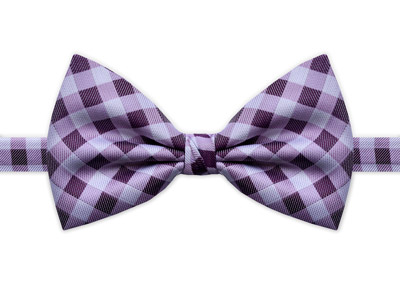 PURPLE & WHITE CHECK BOW TIE-0