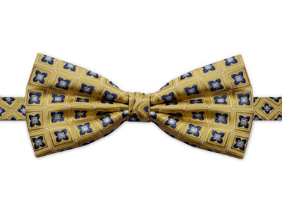 YELLOW & BLUE SQUARE DETAIL BOW TIE